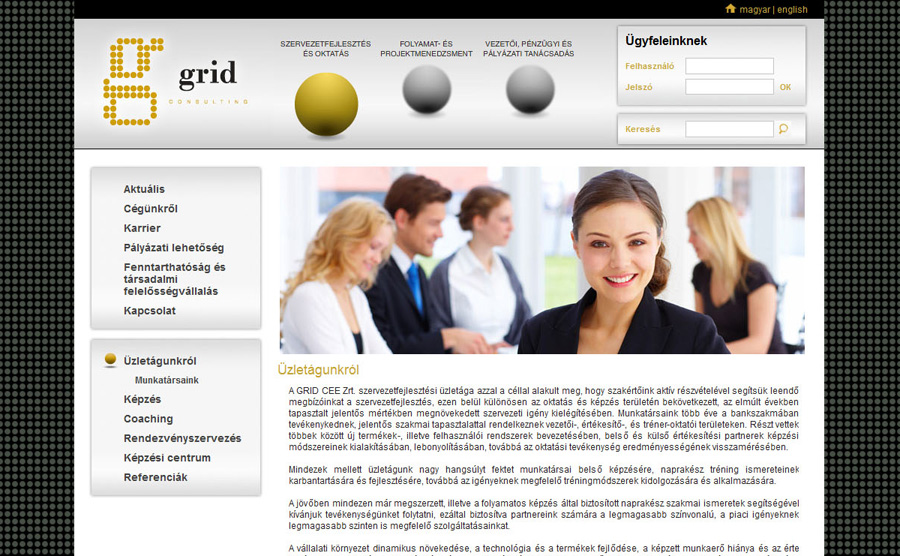 A GRID Consulting honlapja