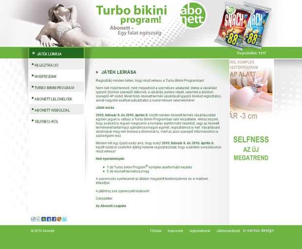 Turbo bikini program – Abonett promóció