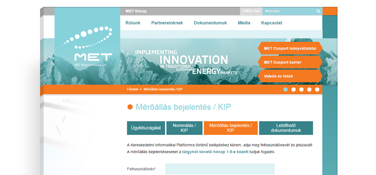 A MET Group weboldalai